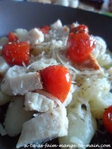 gnocchi poulet et tomate confite