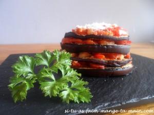 millefeuille aubergine chorizo
