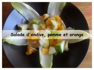 salade d'endive, pomme et orange présentation