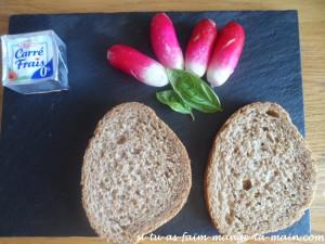 toast radis carré frais basilic