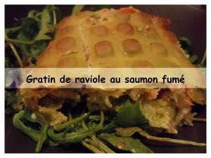 Gratin de raviole au saumon fumé présentation