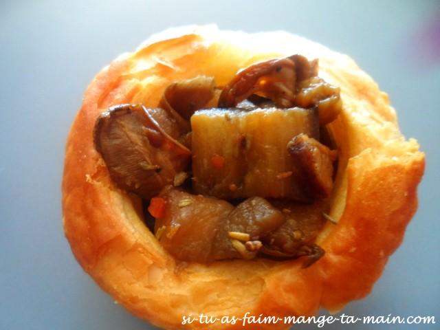 bouchée au cèpe de Bordeaux & aubergine présentation4