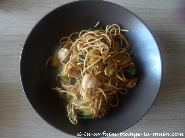 nouilles soja poulet courgette2