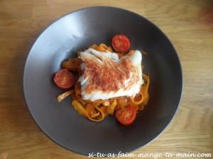 Cabillaud & tagliatelle de carotte au sésame