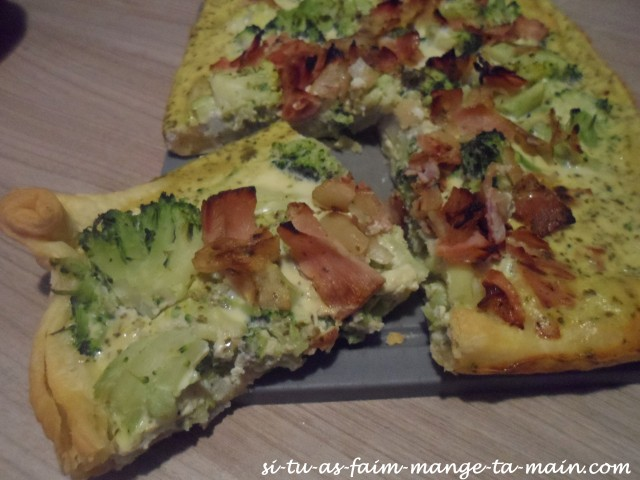 Quiche au pesto brocolis bacon3