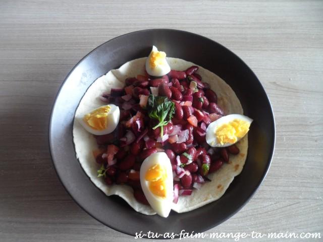 salade aux haricots rouges sur tortilla1