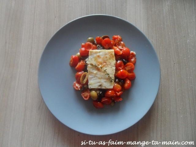 Cabillaud aux olives & tomates cerises