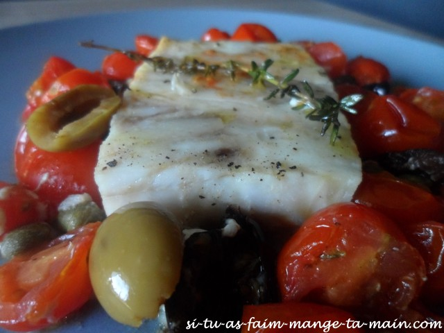 Cabillaud aux olives & tomates cerises1