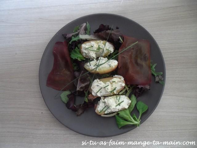 salade de pdt tiede au fromage et boeuf seché