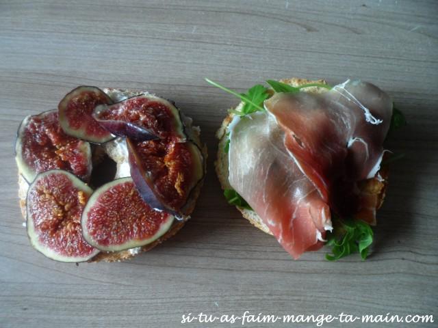 bagel chèvre figues & jambon cru1