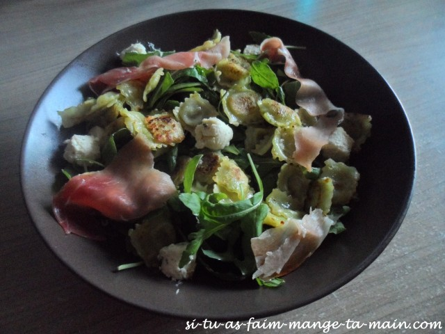 salade aux ravioles boursin & jambon cru1