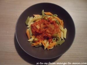 Sauté de veau aux olives & pennes tricolores1
